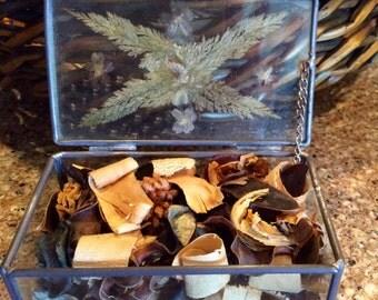 Glass Trinket Box, Glass Ring Box, Glass Treasure Box, Dried Flower Box, Potpourri Box