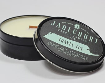 Bonfire 3.5 oz. Travel Tin Wooden Wick Soy Candle
