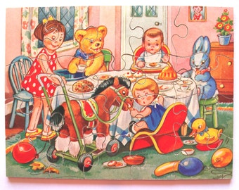 Vintage Wooden Victory Jig-saw Puzzle 1960s Tea Party