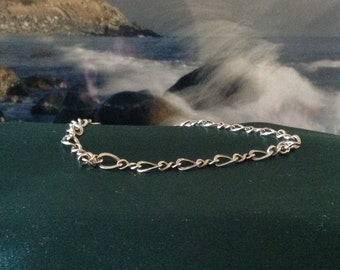 Simple, Sturdy, Desirable, Sterling Silver Chain & Link Anklet or Bracelet at Size 8""