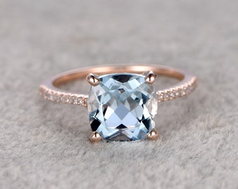 2.3ct Cushion Natural Aquamarine Ring!Diamond Engagement ring Rose gold,Bridal,Ball prong,Blue Stone Gemstone Promise Ring,wedding band