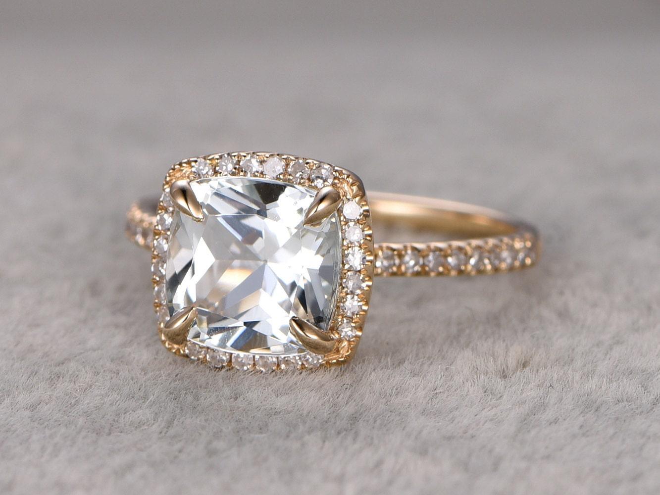 2 6ct white topaz engagement ringdiamond wedding ring14k