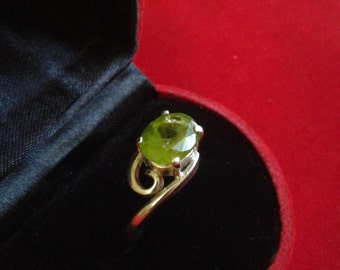 Peridot ring in silver handmade