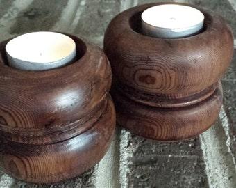Handmade Cedar Tea Light Candle Holders