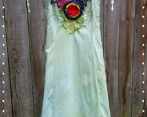 Green Rainbow slip dress