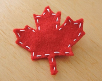Felt Canadian MAPLE LEAF Pin, Badge, Brooch