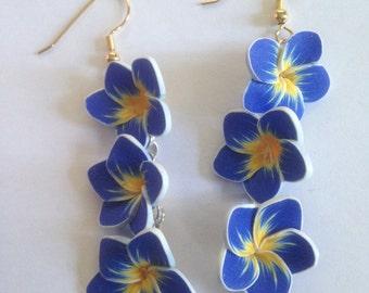 Blue Frangipani Plumeria Earrings