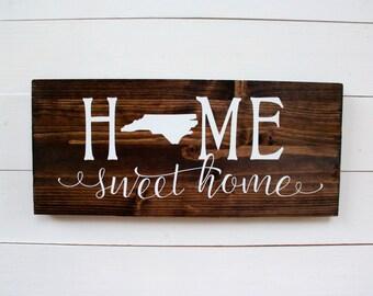 North Carolina | NC Decor | Home Sweet Home North Carolina | Housewarming | Wall Decor | Entryway Sign | Raleigh | Charlotte | Wall Decor |
