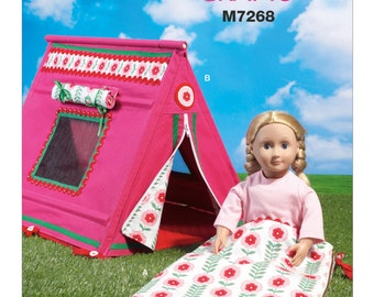 """Sewing Pattern for 18 Inch Doll Tent & Sleeping Bag for 18"""" Doll Patterns, McCall's Pattern 7268, Camping Set for American Girl 18"""" Dolls"""