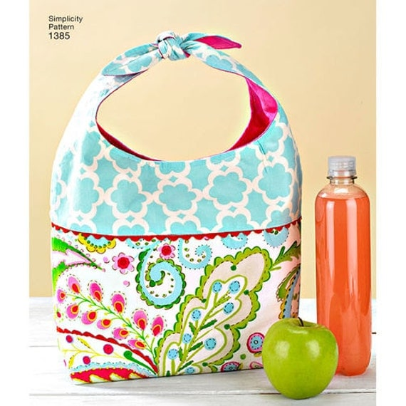 Sewing pattern for arts crafts caddie bag lunch tote for Arts and crafts tote bags