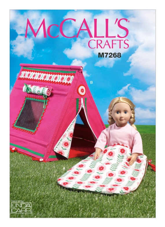 Sewing Pattern for 18 Inch Doll Tent u0026 Sleeping Bag for 18  Doll Patterns McCallu0027s Pattern 7268 C&ing Set for American Girl 18  Dolls from ...  sc 1 st  Etsy Studio & Sewing Pattern for 18 Inch Doll Tent u0026 Sleeping Bag for 18
