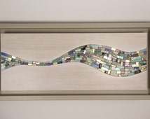 Sea wave art inspired limed oak  panel with inlaid mosaic - series 1 : 1 of 5