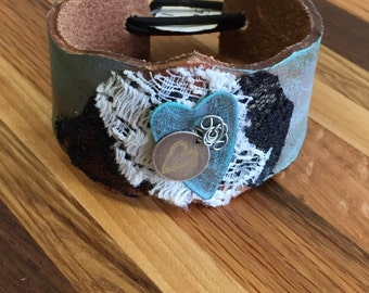 Leather and metal cuff bracelet #1