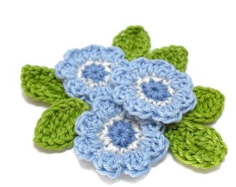 crochet flower/leave set Misty Blue