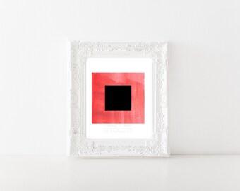 Minimalist Coral and Black Square Print