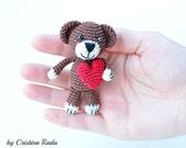 Miniature Bear, Teddy Bear, Stuffed animals, Bear with Red Heart, Keychain Bear, Crochet Toy, Christmas Bear Gift, Cute Teddy Bear