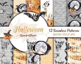 Halloween Watercolor Handpainted Paper, Seamless Patterns, Witch Hat, Scrapbook Paper Pack, Pumpkin Digital Paper Autumn leaves, Halloween