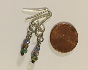 Lovely Turquoise Blue Picasso/Indian Agate Earrings.
