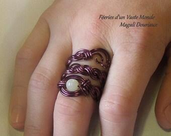 ring braid Moonstone, purple, size 52 (US: 6)