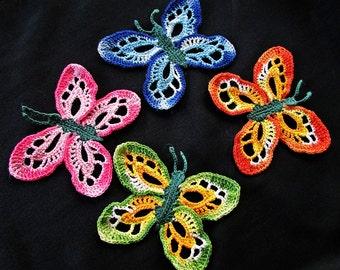 Four Beautiful Handmade Colorful Crochet Butterflies