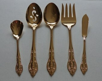 Baroque Gold silverware Vintage Estia Flatware Electroplate Stainless Meat Fork, Sugar Spoon, Butter Spreader, Tablespoons Serving Spoons