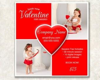 "5x5"" Valentine Mini Template, Great for Instagram or Facebook, Mini Session, Digital Download, Marketing Board"