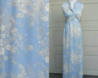 Vintage Blue and White Floral Maxi Dress -70s