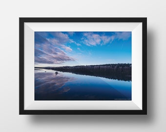 Landscape photography in Harads, Sweden. Mirror reflection, nature photography, home decor, wall art, landscape photo