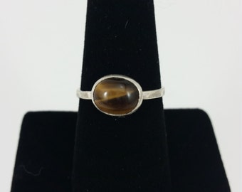Tiger's Eye Stackable Silver Ring