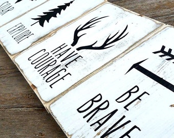 Woodland Nursery Decor | Rustic Decor | Cottage Home Decor | Whitewash Wood Sign | Country Home | Wall Hanging | Childrens Room Decor