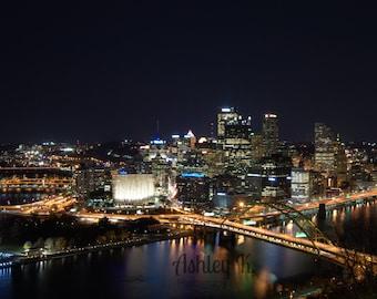 Pittsburgh at night. 8x10 print.