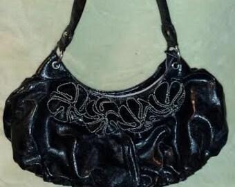 Black Nicole Lee Faux Leather Purse Handbag Shoulder bag