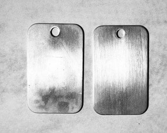 Sterling Sliver 41mm x 25mm Blank Dog Tag 1mm thick unfinished and can be engraved
