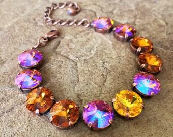 TOPAZ PASSION 12mm Swarovski crystal bracelet set in copper - neutral colors in crystal rivolis