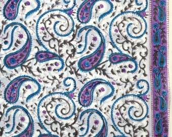 Sky blue and Purple Paisley block Print fabric by the yard