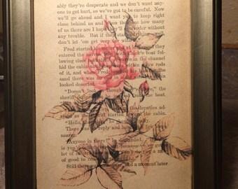 Rose Vintage 1949 Book Page Art