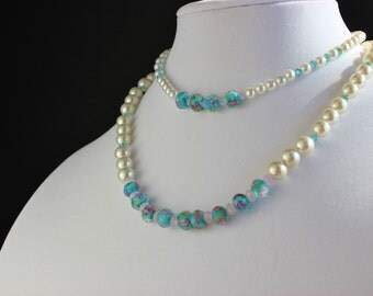 Mother Daughter White Faux Pearl & Turqoise Necklaces