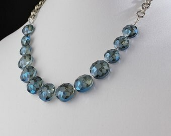 Blue Etched Glass Beads on Silver Chain