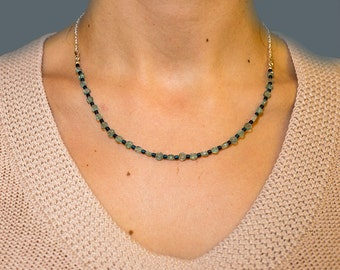 Blue Apatite necklace with sterling silver chain