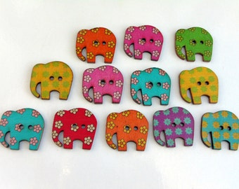 12 Mixed Elephant wooden buttons #EB47