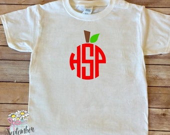 Toddler Back to School Shirt - Toddler First Day of School - Back to School Shirt - Toddler Apple Shirt - School Monogram - Apple Shirt