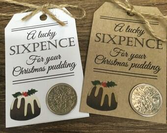 Lucky sixpence for your christmas pudding - 1 tag