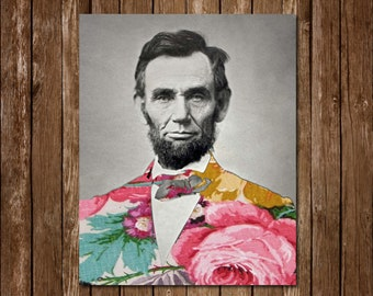 Floral Abraham Lincoln Printable Instant Download