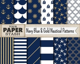 Nautical Digital Paper, Navy Blue & Gold, Striped, Starfish, Quatrefoil, Nautical, Scrapbooking Paper, Navy Blue White, Commercial Use