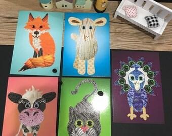 Animal barnyard postcard