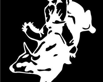Vinyl Decal Bull rider rodeo cowboy ride truck country bumper sticker car truck laptop