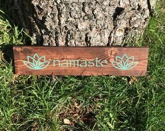 Namaste Lotus Hand Painted Sign | Wooden Sign | Yoga Studio Home Decor