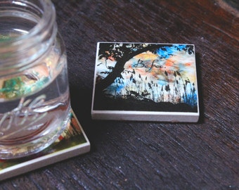 Shot Glass Coasters, Set of 2, Quote Coasters, Tree Coasters, Mini Coaster Set, Mini Gifts, Quote Magnets, Tree Magnets, Coaster Magnets