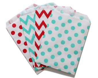 Party Favor Bag, Paper Favor Bags, Red and Aqua Polka Dot Chevron Paper Favor Bags, Baby Shower, 1st birthday Treat Bags, Wedding Favor Bags