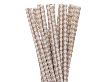 Paper Straws, Gray Diamond Straws, Gray and White Paper Straws, Vintage Straws, Wedding Gray Straws, Gender Neutral Baby Shower Paper Straws